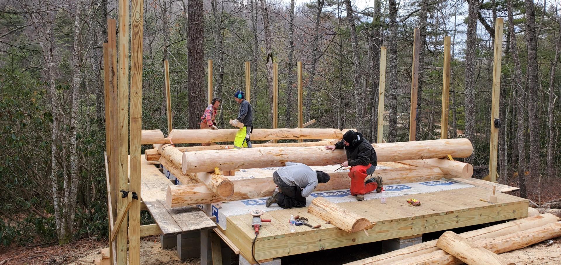 Volunteers Build Cabins at Blue Ridge
